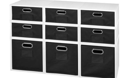 Niche Cubo Storage Set- 3 Full Cubes/6 Half Cubes with Foldable Storage Bins- White Wood Grain/Black