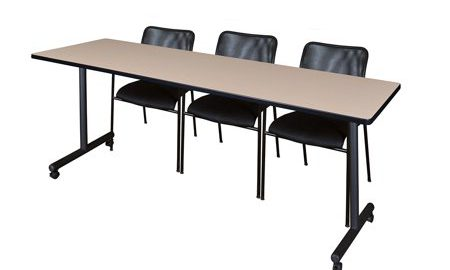 """84"""" x 24"""" Kobe Mobile Training Table- Beige & 3 Mario Stack Chairs- Black"""