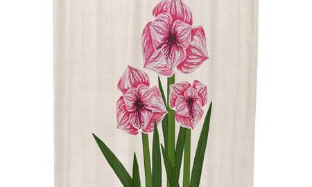 Amaryllis Floral Print Shower Curtain