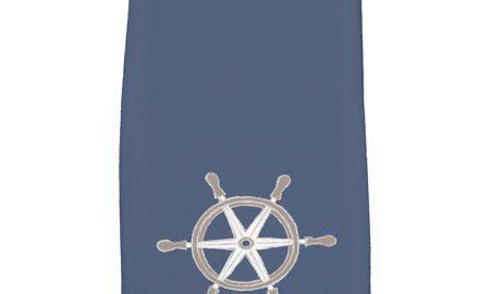16 x 25 Inch, Ship Wheel, Geometric Print Kitchen Towel, Navy Blue