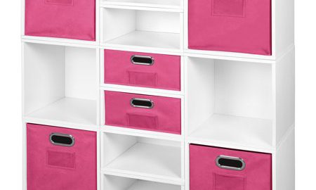Niche Cubo Storage Set- 6 Full Cubes/6 Half Cubes with Foldable Storage Bins- White Wood Grain/Pink