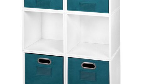 Niche Cubo Storage Set- 4 Full Cubes/2 Half Cubes with Foldable Storage Bins- White Wood Grain/Teal