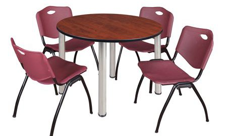 """Kee 48"""" Round Breakroom Table- Cherry/ Chrome & 4 'M' Stack Chairs- Burgundy"""