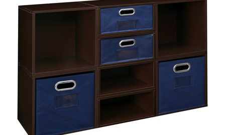 Niche Cubo Storage Set- 4 Full Cubes/4 Half Cubes with Foldable Storage Bins- Truffle/Blue