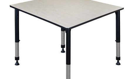 """Kee 48"""" Square Height Adjustable Classroom Table - Maple"""