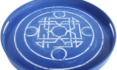 A Home Lacquered Tray, Mother Of Pearl Inlay, Blue