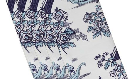 19 x 19 inch, China Old, Floral Print Napkin (set of 4), Blue