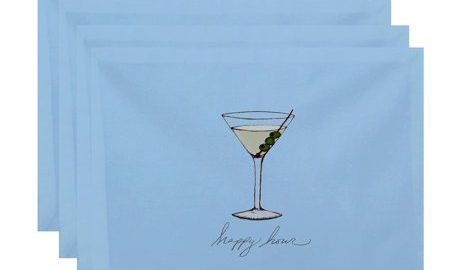 18 x 14 Inch Martini Glass Happy Hour Geometric Print Placemat (set of 4), Pale Blue