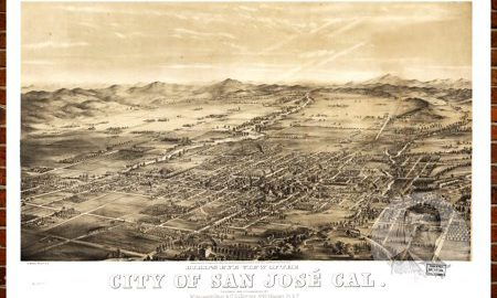 """Ted's Vintage Art Map of San Jose, CA 1869; Old California Decor 18"""" x 24"""""""