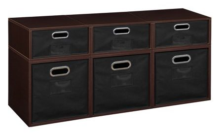 Niche Cubo Storage Set- 3 Full Cubes/3 Half Cubes with Foldable Storage Bins- Truffle/Black