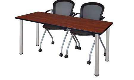 """60"""" x 24"""" Kee Training Table- Cherry/Chrome and 2 Cadence Nesting Chairs"""