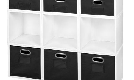 Niche Cubo Storage Set- 6 Full Cubes/3 Half Cubes with Foldable Storage Bins- White Wood Grain/Black