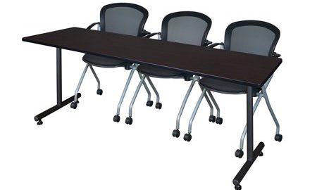 "84"" x 24"" Kobe Training Table- Mocha Walnut and 3 Cadence Nesting Chairs"