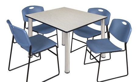 """Kee 48"""" Square Breakroom Table- Maple/ Chrome & 4 Zeng Stack Chairs- Blue"""