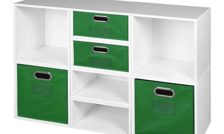 Niche Cubo Storage Set- 4 Full Cubes/4 Half Cubes with Foldable Storage Bins- White Wood Grain/Green