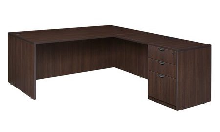 "Legacy 71"" Single Full Pedestal L-Desk with 47"" Return- Java"