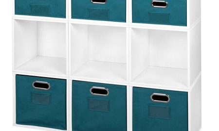 Niche Cubo Storage Set- 6 Full Cubes/3 Half Cubes with Foldable Storage Bins- White Wood Grain/Teal