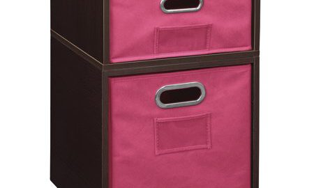 Niche Cubo Storage Set- 1 Half Cube/1 Full Cube with Foldable Storage Bins- Truffle/Pink