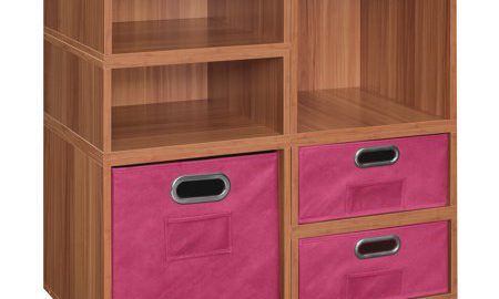 Niche Cubo Storage Set- 2 Full Cubes/4 Half Cubes with Foldable Storage Bins- Warm Cherry/Pink