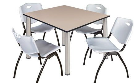 """Kee 48"""" Square Breakroom Table- Beige/ Chrome & 4 'M' Stack Chairs- Grey"""