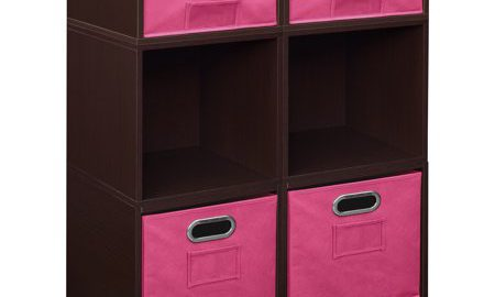 Niche Cubo Storage Set- 4 Full Cubes/2 Half Cubes with Foldable Storage Bins- Truffle/Pink