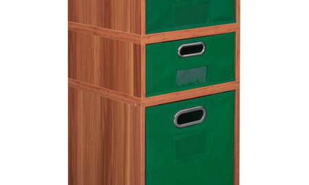 Niche Cubo Storage Set- 1 Full Cube/2 Half Cubes with Foldable Storage Bins- Warm Cherry/Green
