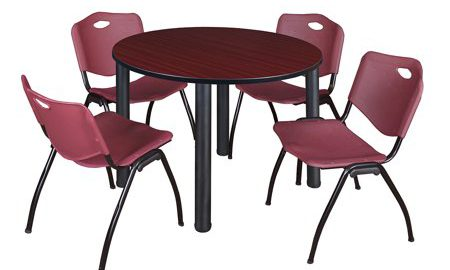 """Kee 48"""" Round Breakroom Table- Mahogany/ Black & 4 'M' Stack Chairs- Burgundy"""