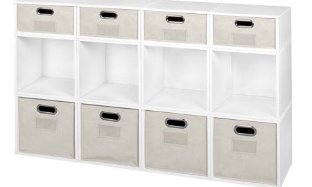 Niche Cubo Storage Set- 8 Full Cubes/4 Half Cubes with Foldable Storage Bins- White Wood Grain/Natural