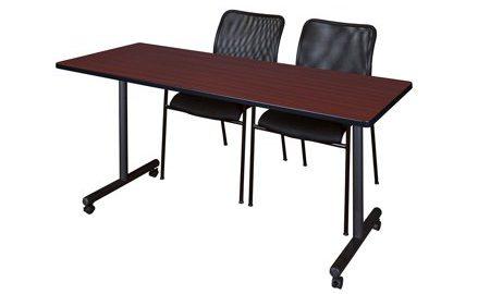 "72"" x 24"" Kobe Mobile Training Table- Mahogany & 2 Mario Stack Chairs- Black"