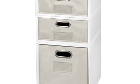Niche Cubo Storage Set- 1 Full Cube/2 Half Cubes with Foldable Storage Bins- White Wood Grain/Natural