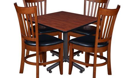 """Kobe 36"""" Square Breakroom Table with 4 Zoe Caf © Chairs- Cherry"""
