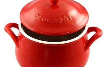 Crock Pot Artisan 5 Quart Ceramic Bean Pot with Lid and Handles in Red