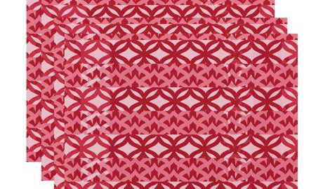 18 x 14 Inch, Greeko Simple, Geometric Print Placemat (Set of 4), Red