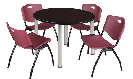 """Kee 48"""" Round Breakroom Table- Mocha Walnut/ Chrome & 4 'M' Stack Chairs- Burgundy"""