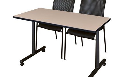 """48"""" x 24"""" Kobe Mobile Training Table- Beige & 2 Mario Stack Chairs- Black"""