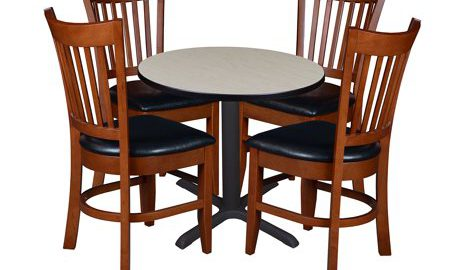 """Cain 30"""" Round Breakroom Table with 4 Zoe Caf © Chairs- Maple"""