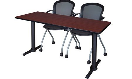 """Cain 60"""" x 24"""" Training Table- Mahogany & 2 Cadence Nesting Chairs- Black"""