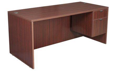"""Legacy 66"""" Single Pedestal Desk- Mahogany"""