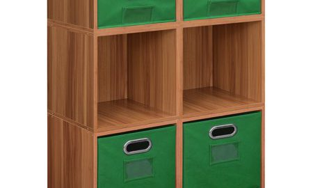 Niche Cubo Storage Set- 4 Full Cubes/2 Half Cubes with Foldable Storage Bins- Warm Cherry/Green
