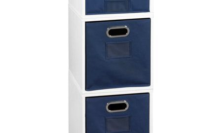Niche Cubo Storage Set- 2 Full Cubes/1 Half Cube with Foldable Storage Bins- White Wood Grain/Blue