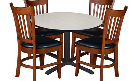 """Cain 42"""" Round Breakroom Table with 4 Zoe Caf © Chairs- Maple"""