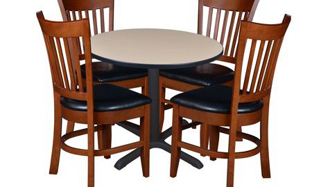 """Cain 36"""" Round Breakroom Table with 4 Zoe Caf © Chairs- Beige"""